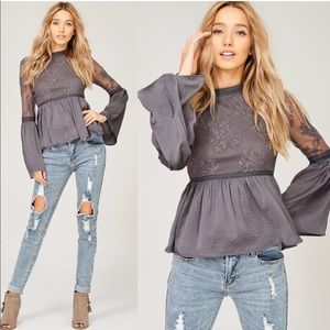 CHARLOTTE Embroidered Lace Top - CHARCOAL